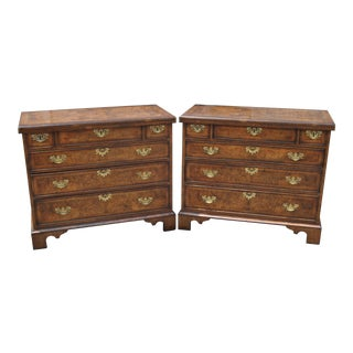 Antique English Walnut Bachelor's Chests - a Pair For Sale