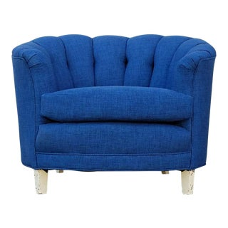 Mid-Century Blue Tweed Tufted Lounge Chair