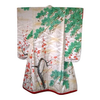 Antique Silk Kimono Handpainted Cherry Blossoms and Pine Trees Wall Display For Sale