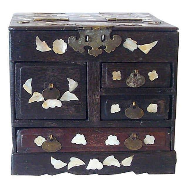 Antique Mother of Pearl Inlay Jewelry Box - Image 2 of 6