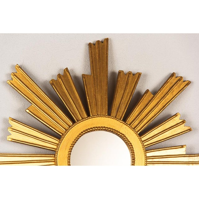 Mid-Century Modern French Vintage Giltwood Sunburst Mirror, 1950s For Sale - Image 3 of 8
