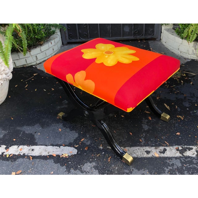 Mid 20th Century Vintage French Art Deco X Bench W Marimekko Seat For Sale - Image 5 of 6