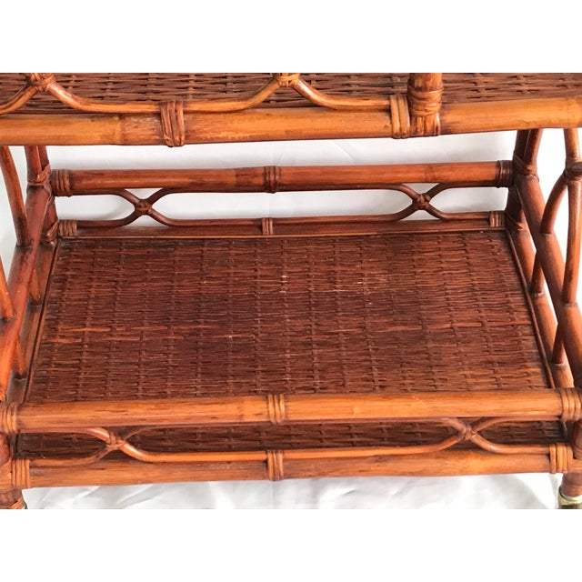 Brown Vintage Rattan Bamboo Bar Cart For Sale - Image 8 of 10