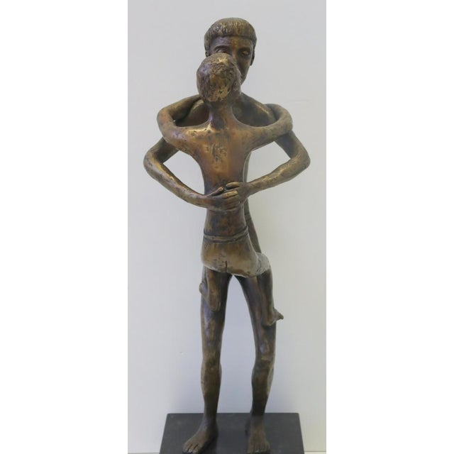Ted Haber American Father and Son Bronze 23 x 7 x 6 in, 26 in with the base Signed Unique Certificate of Authenticity