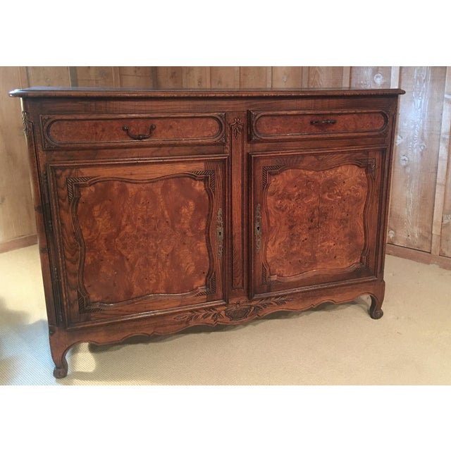 French Louis XV Style Carved Oak and Walnut Sideboard For Sale - Image 10 of 11