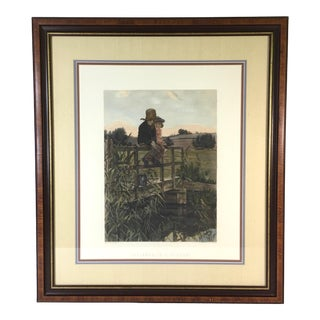 """Early 20th Century Antique """"Patience Is a Virtue"""" Framed & Hand Colored Engraving For Sale"""