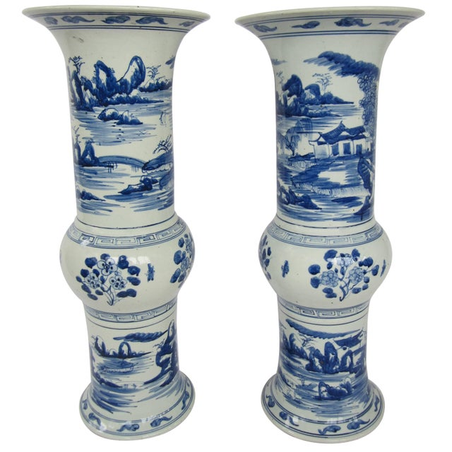 Pair of Large Blue and White Chinese Trumpet Vases For Sale - Image 9 of 9
