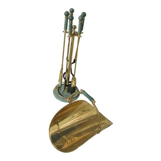 Marble & Brass Fireplace Tools-Set of 6 For Sale