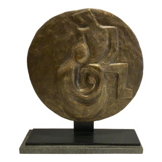 Art Deco Style Studio a La Familia Figural Bronze Metal Disc Sculpture For Sale