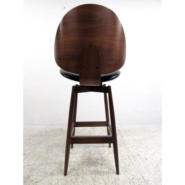 Wood Mid-Century Modern Clamshell Bar Stools - Set of 3 For Sale - Image 7 of 11