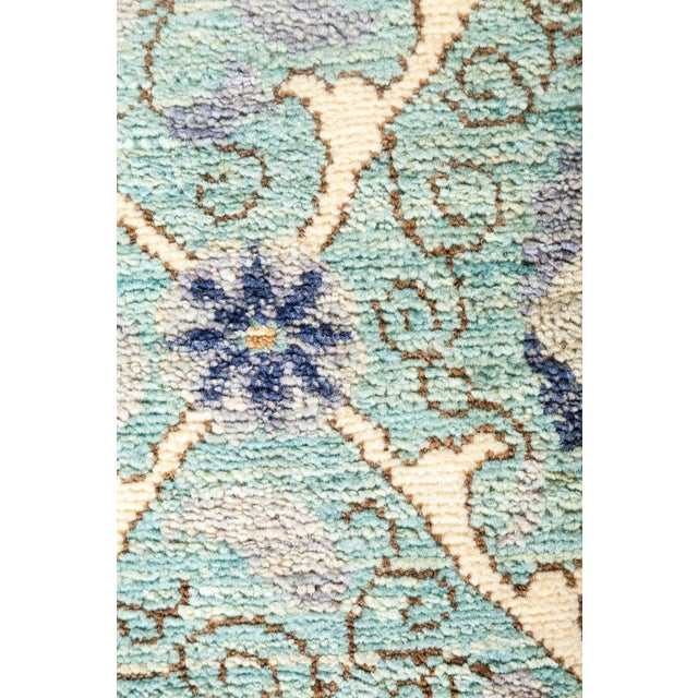 """Islamic Modern Suzani Style Blue & Purple Hand-Knotted Wool Rug- 6' 2"""" X 9' 3"""" For Sale - Image 3 of 4"""