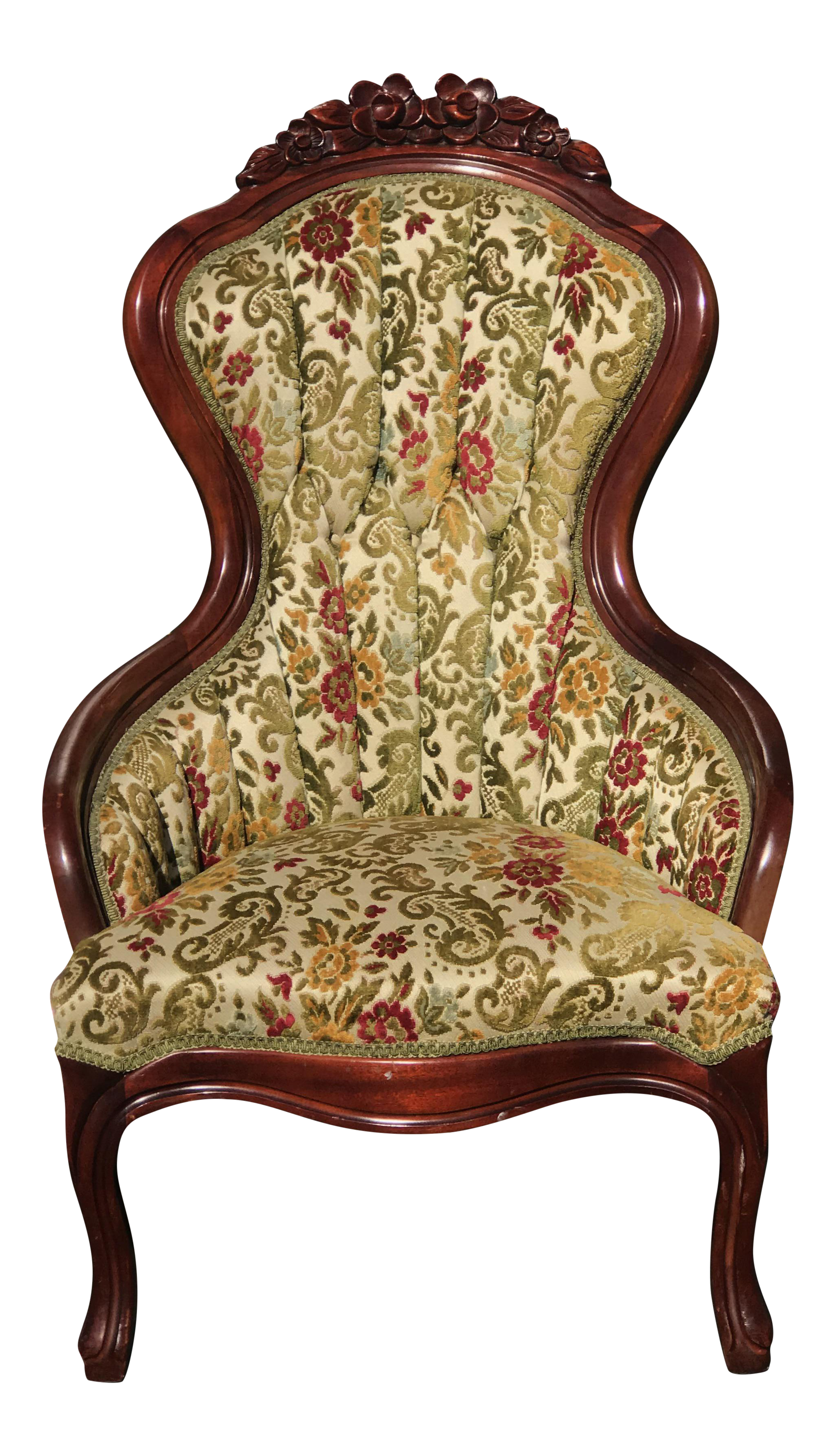 Jewel Tone Floral Velvet Victorian Parlor Chair   Image 1 Of 7