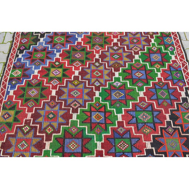 Textile Handwoven Turkish Kilim Rug. Traditional Oushak Area Rug Braided Kilim - 6′ X 13′5″ For Sale - Image 7 of 12