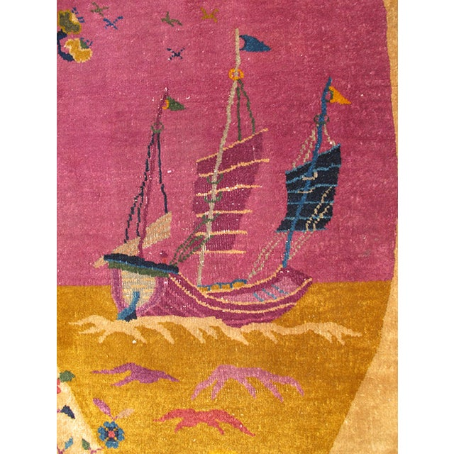 1920s Early 20th Century Antique Chinese Art Deco Oval Rug - 2′11″ × 5′4″ For Sale - Image 5 of 7