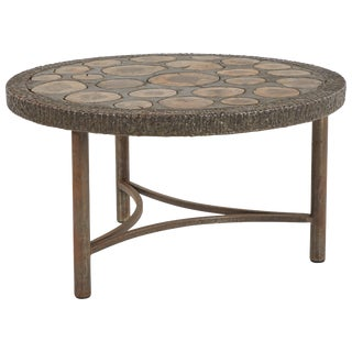 Brutalist Bronze Coffee Table With Inlaid Natural Wood From Mid-Century France For Sale