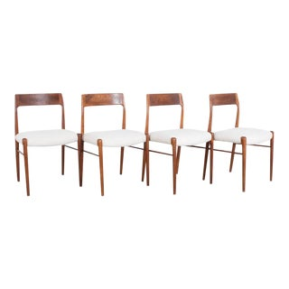 1960s Danish Midcentury Teak Upholstered Dining Chairs No. 77 by Niels Moller - Set of Four