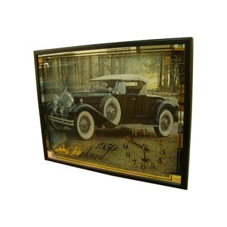 1970s Automotive Shop Clock Featuring 1930 Packard For Sale
