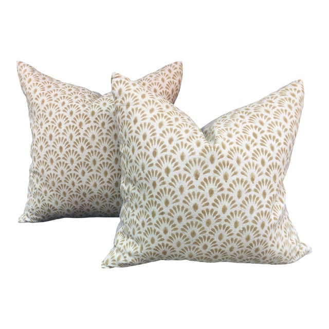 Hand Blocked Indian Linen Pillows For Sale