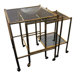 1960s Italian Mid-Century Modern Brass and Smoked Glass Nesting Tables - Set of Three For Sale