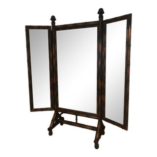 Theodore Alexander Chinoiserie Faux Bamboo Triple Mirror For Sale
