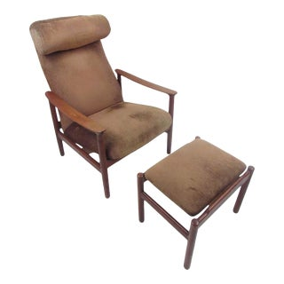 Mid-Century Modern Danish Lounge Chair and Ottoman For Sale