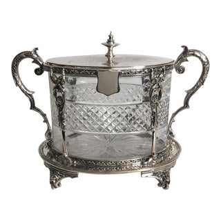 Antique English Silver & Crystal Biscuit Jar For Sale