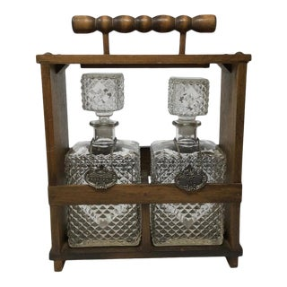 Midcentury Two Decanter Wood Tantalus - Set of 3 For Sale