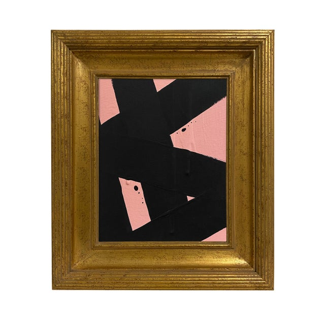 Ron Giusti Mini Abstract Blush Black Painting, Framed For Sale - Image 4 of 4