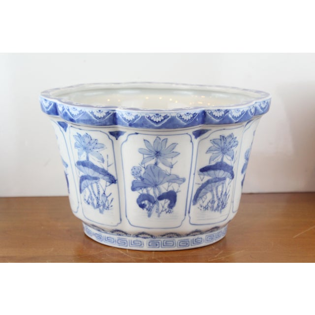 Ceramic Vintage Mid Century Lotus Pattern Planter For Sale - Image 7 of 7