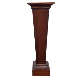 Mid Century Walnut Finish Tapered Art Statue Plant Stand