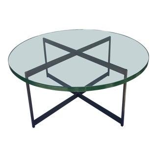 1970s Vintage Bronze X-Base Coffee Table
