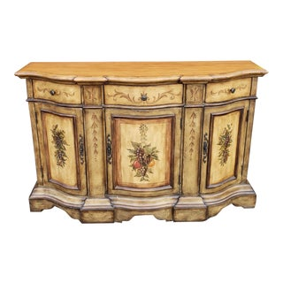 Contemporary Country Painted Grape Motif Dining Room Credenza Buffet Cabinet C1990s For Sale