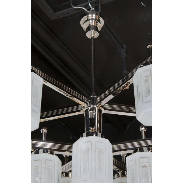 Magnificent Art Deco Style Ten-Arm, Nine-Globe Chandelier in Polished Nickel For Sale - Image 4 of 10