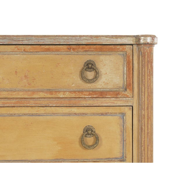 Light Yellow Circa 1940s French Louis XVI Style Antique Painted Desk Over Chest of Drawers For Sale - Image 8 of 13