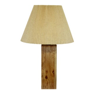 Mid Century Modern Wood Laminate Table Lamp Original Brass Finial 1960s For Sale