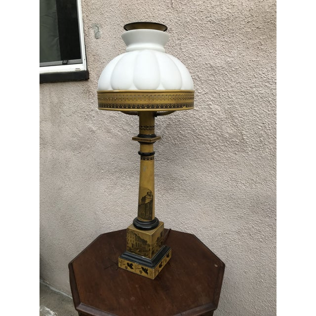 Ceramic Antique Victorian Mustard Color Column Lamp With Glass Shade For Sale - Image 7 of 10
