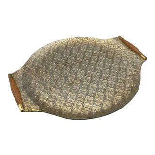Georges Briard Gold Iberia Pattern on Glass With Walnut Handles Serving Platter For Sale