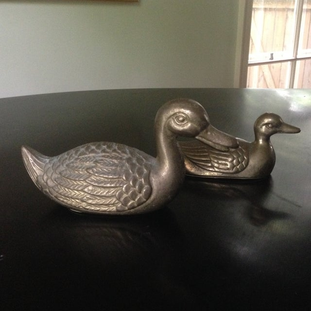 Vintage Brass Ducks - A Pair - Image 3 of 11