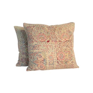 Vintage Block Printed Kantha Pillows - A Pair For Sale