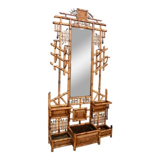 Faux Bamboo Hall Tree With Mirror For Sale