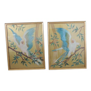 Pair of Hand Painted Hollywood Regency Verre Églomisé Style Parrots Paintings For Sale