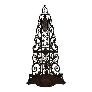 French Cast Iron Corner Portmanteau, Hall Tree with a Hunt Motif For Sale