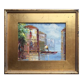 Impressionist Original Oil Painting, Gondolier in Venice For Sale