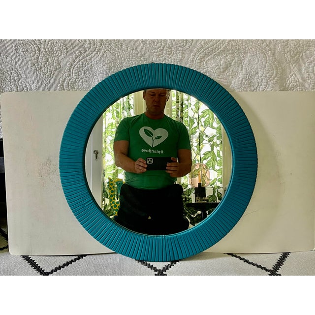 Large Poltrona Frau Leather Mirror For Sale In New York - Image 6 of 6