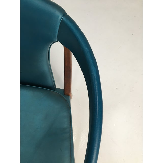 Mid-Century Walnut Ming Horseshoe-Style Slipper Armchair For Sale - Image 9 of 13
