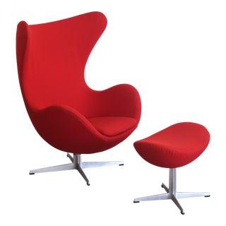 Vintage Arne Jacobsen for Fritz Hansen Danish Modern Red Egg Chair and Ottoman For Sale