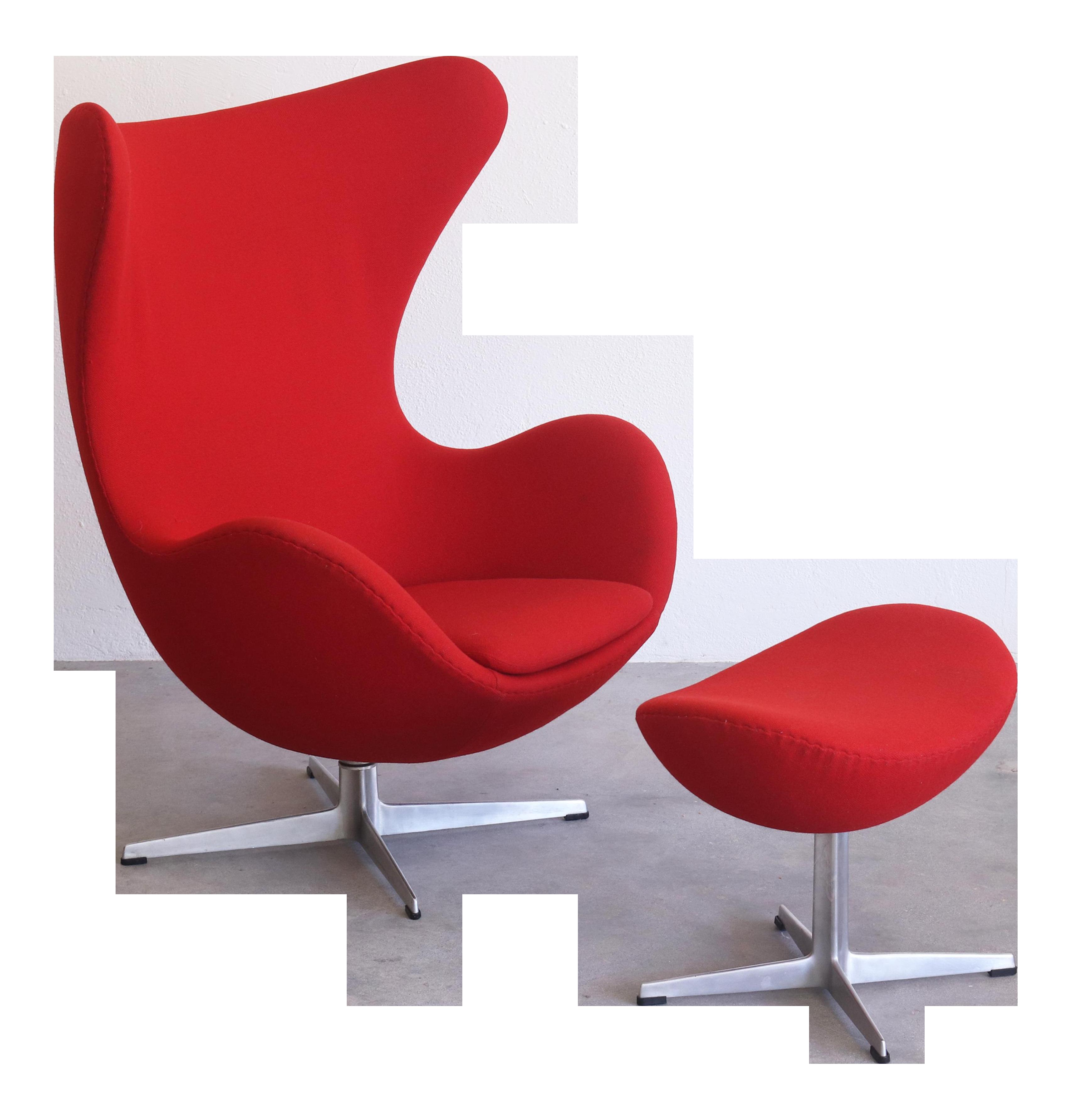 Vintage Arne Jacobsen For Fritz Hansen Danish Modern Red Egg Chair And  Ottoman