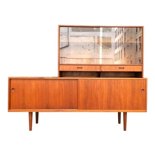 Hans Wegner for Ry Møbler Teak Sideboard Credenza With Hutch - Mid Century Danish Modern Teak China Cabinet Glass Display Case For Sale