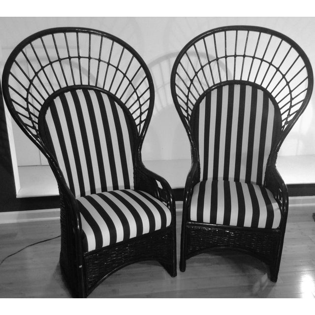 Mid-Century Rattan Wicker Peacock Fan Back Throne Chairs -A Pair For Sale - Image 13 of 13