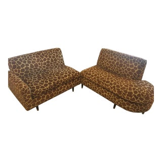Mid Century Modern Giraffe Print Sectional Sofa